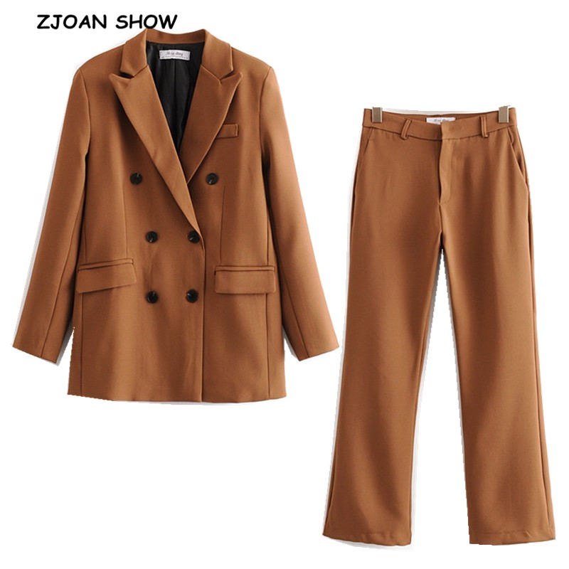 2019 New Autumn BF Style Double-breasted Button Women Camel Blazer High Waist Straight Pants Long Sleeve Suits 2 Pieces Set