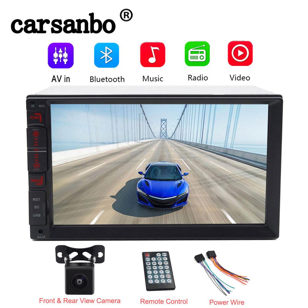 Black 7/'/' 2DIN HD Stereo Radio Bluetooth FM//MP5//TF//USB//Mirror Link W// Cam