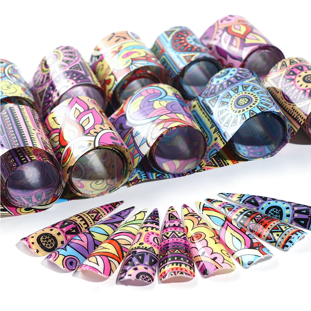 10 Rolls Transparent Nail Art Foil Stickers Starry Sky UV Gel Transfer Wraps Nail Adhesive Decals Nail Decoration Manicure 5