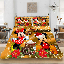 Christmas Mickey Luxury King-Full Size Soft Bedding set Bedclothes Include Duvet Cover Pillowcase Print Home Textile Bed Linens