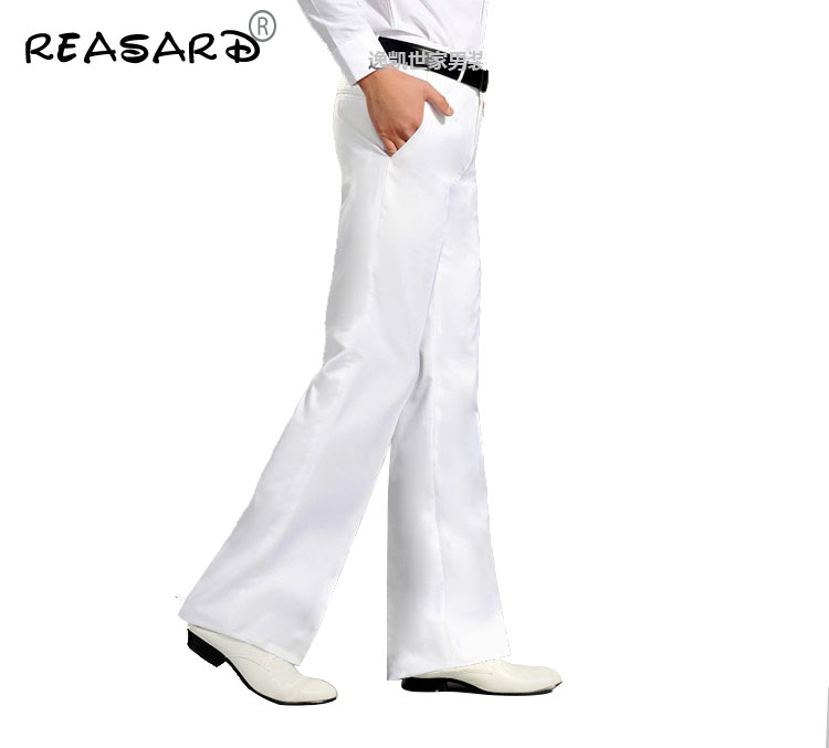 Autumn 2019 Men's Flared Trousers Formal White Bell Bottom Dance Suit Pants High Quality Bootcut Businness Clothing Male