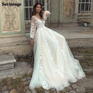 Sevintage Princess Boho Wedding Dresses Appliques Lace Backless Beach Bride Dress Long Puff Sleeves Plus Size Bridal Gown
