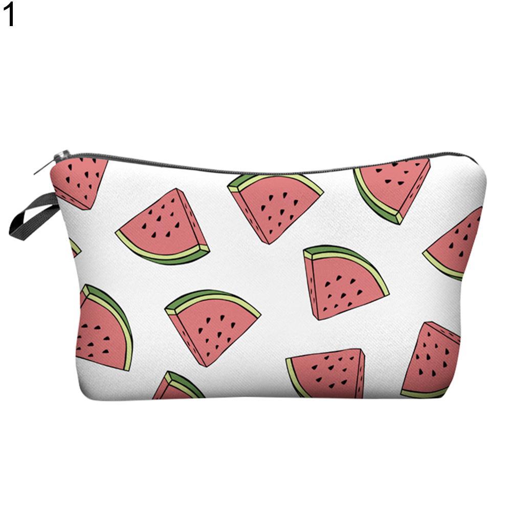 Makeup Brush Toiletry Storage Pouch Fruit Watermelon Coconut Women Cosmetic Bag
