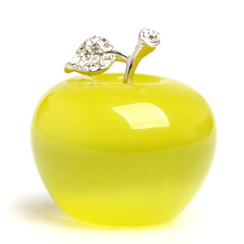 Yellow opal natural gem cat eye pendant apple charming the merry Christmas apple ornaments gifts figurine alloy leaf craft