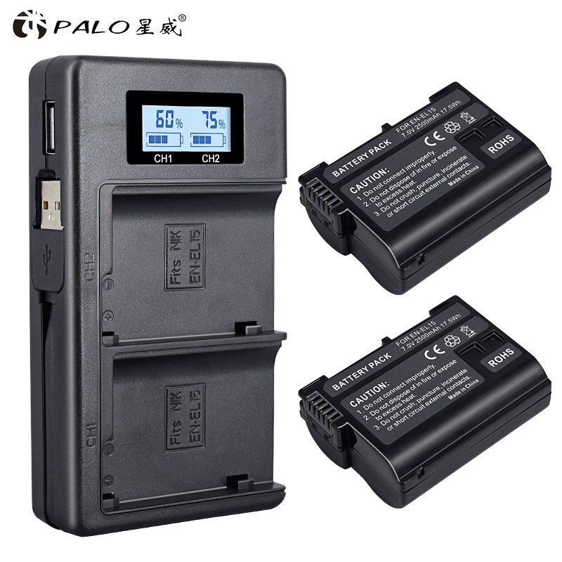 2Pcs EN-EL15 EL15 EN-EL15a ENEL15a EN EL15a Battery+USB Dual Charger For Nikon D850 D810 D810A D750 D500 D7500 D7200 D7100