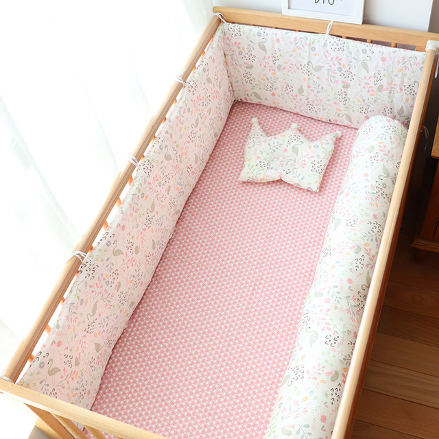 Baby Bed Bumper For Newborns Baby Room Decoration Thick Soft Crib Protector For Kids Cot Cushion With Cotton Cover Detachable | Happy Baby Mama