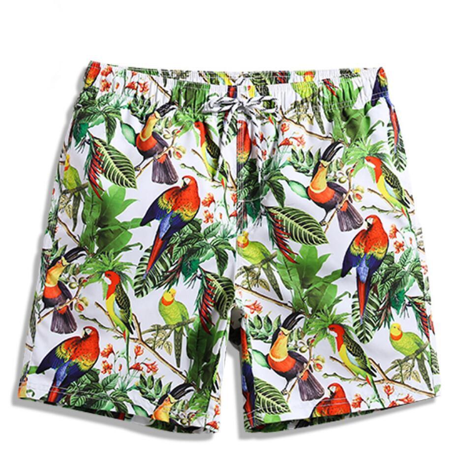 Printing Birds Mesh Inner Men Swimming Trunks Plus Size Swimwear Sexy Beach wear Swim Briefs Surfing Shorts Men's Swimsuit 192