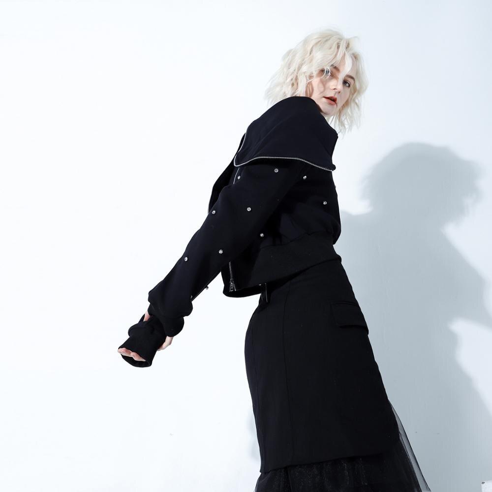 Wreeima 2019 весна осень мода уличная молния большой черный отложной воротник бриллианты Толстовка женские повседневные толстовки - 2