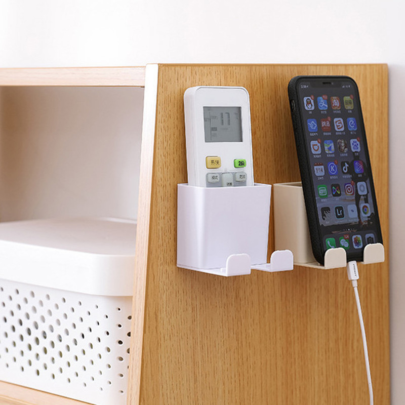 Wall Mounted Organizer Storage Box Remote Control Air Conditioner Storage Case Mobile Phone Plug Holder Stand Container 1piece