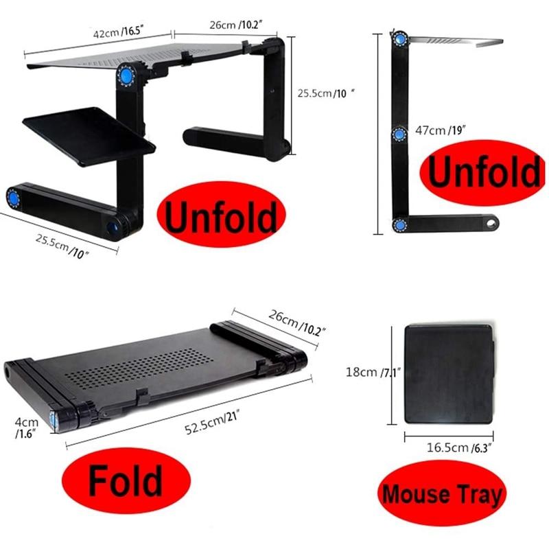 Adjustable Aluminum Portable Laptop Desk Foldable Vertical Table Laptop Desk with Mouse Board Computer Desk Bookshelf
