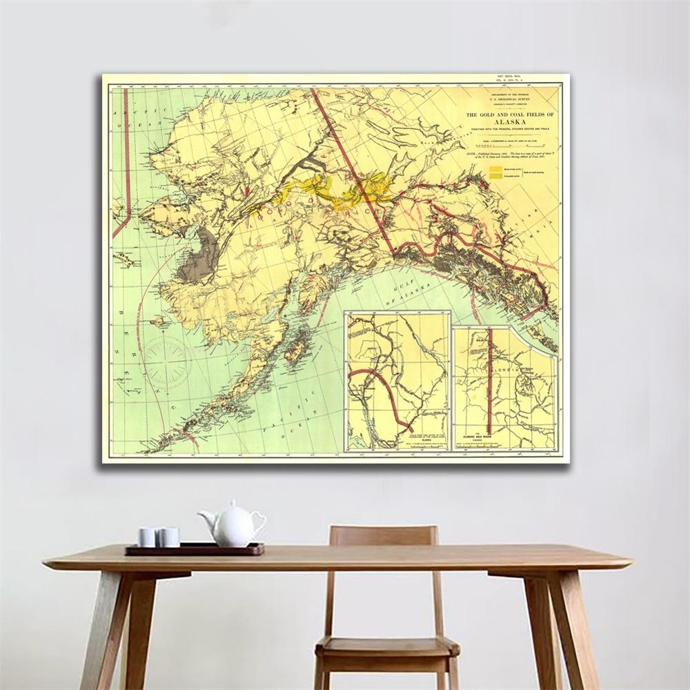 1898 Edition Vintage Decor Map Wall Decor Painting The Gold And Coal Fields Of ALASKA 90x90cm HD Spray Painting For Living Room
