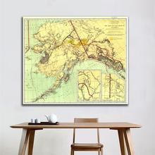 1898 Edition Vintage Decor Map Wall Painting The Gold And Coal Fields of ALASKA 90x90cm HD Spray For Living Room