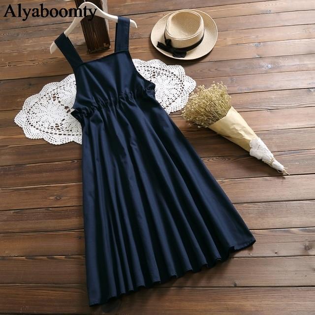 Japanese Mori Girl Spring Summer Women Sundress Navy Blue Suspenders Elegant Dress Cotton Linen Vintage Sleeveless Midi Dresses 2