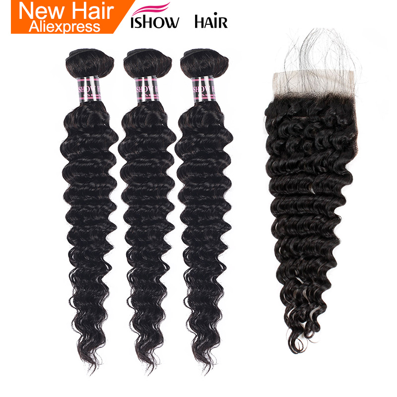 Ishow Peruvian Deep Wave 3 Bundles With Lace Closure Baby Hair 100% Human Hair Bundles With Closure 4Pcs Non Remy Hair Weave