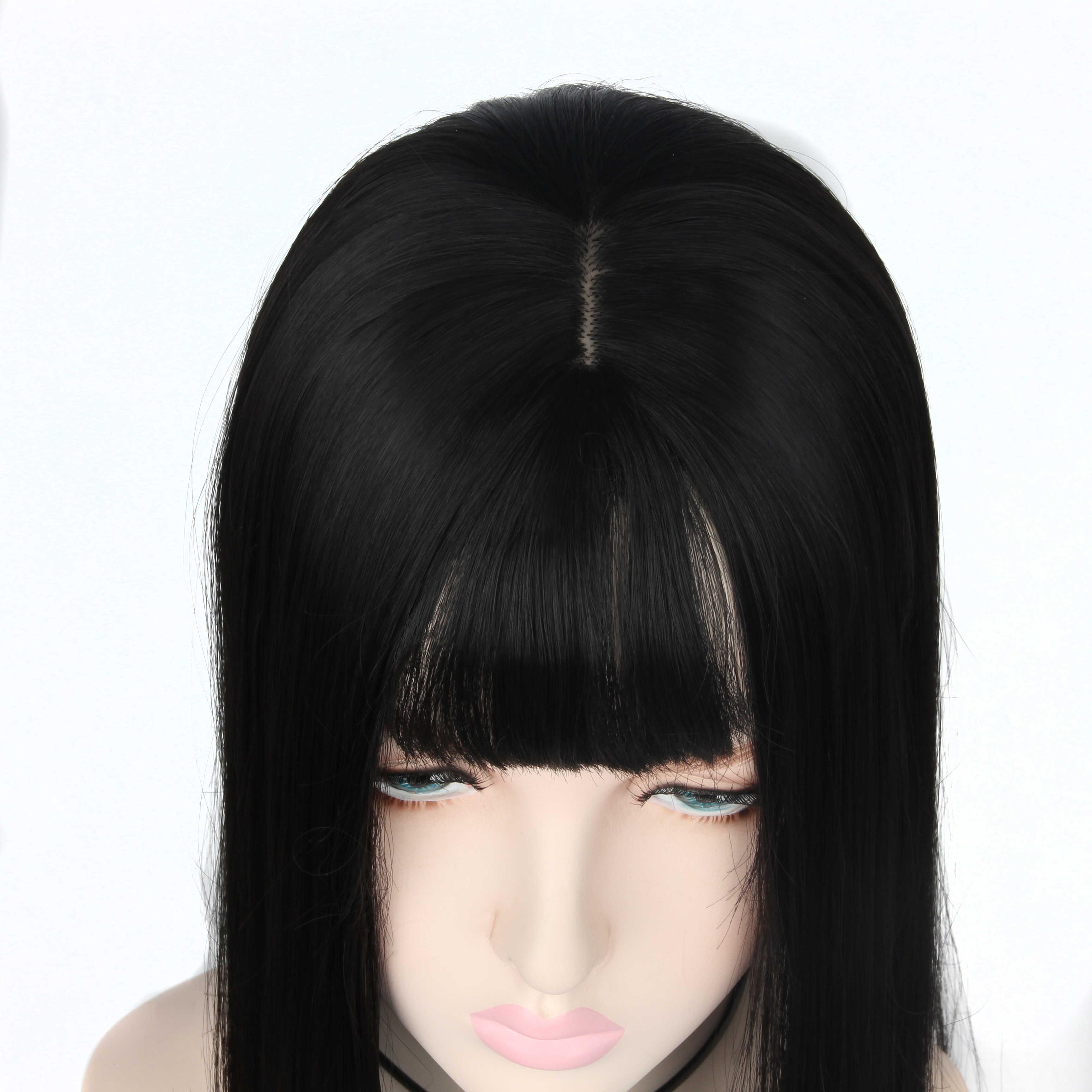 AIYEE Synthetische Haar Hand-made Natürliche Schwarz Topper Haarteil mit Pony Haar Stück Stück Toupet Gerade Haar
