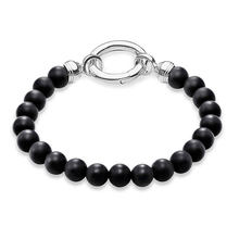 10MM Black Obsidian Strand Charm Bracelets Women Men 925 Sterling Silver Thomas Style Cubic Zirconia Beads Bangles Jewelry Gift(China)