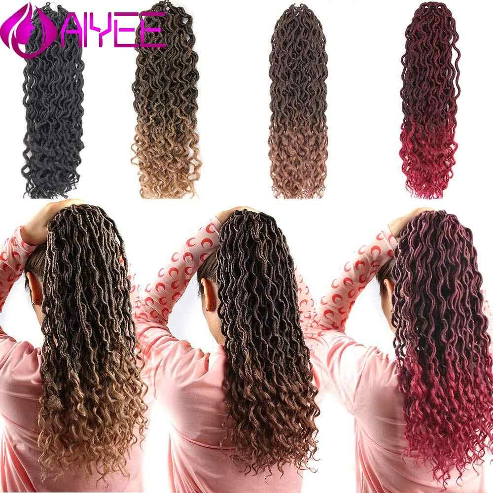 AIYEE 18 ''афро-богемные синтетические богини Locs крючком волосы коса африканские Омбре предварительно растянутые косички волос