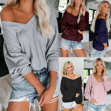 Womens V Neck Long Sleeve Waffle Knit Tops Sexy Off Shoulder Pullover Sweater