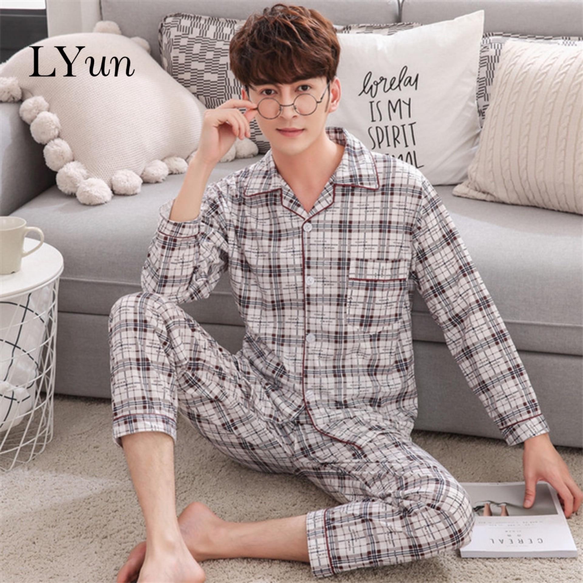 LYun Men's Pajamas Knitted Cotton Autumn Pajamas Men's Long-sleeved Trousers Pajamas Cardigan Men's Home Service