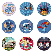 1Pcs Cute A Little Monster Stitch Plastic Badge Mickey Flags Brooch DIY Pins Decorative Backpack Hat Trinket for Boys Girls Gift(China)