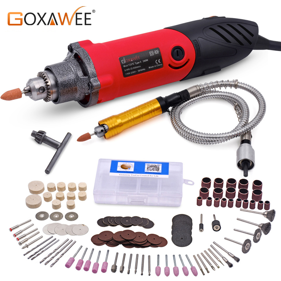 GOXAWEE 220V Electric Grinder Electric Drill Die Grinder Dremel Style Engraving Mini Drill Power Tools Polish Drilling Machine