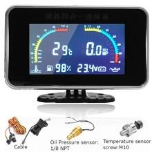 4 in 1 Universal LCD Car Digital ALARM Gauge Oil Pressure Voltmeter Water Temp Fuel Gauge With Temperature / Oil Pressure Sensor oil pressure alarm switch 2897691 hydraulic oil pressure sensor alarm switch