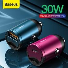 Baseus Carregador rápido veicular USB 4.0 3.0, USB C Carregador de carro para Huawei P30 Xiaomi Mi9 Telefone Celular QC4.0 QC3.0 Tipo C PD 3.0