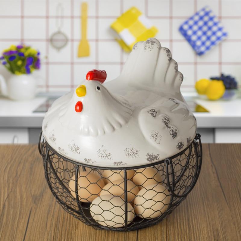 Ceramic Egg Storage Baskets Cute Cartoon Hen Shape Oraments Decoration Iron Basket Creative Wire Fruit Snack Groceries Organizer