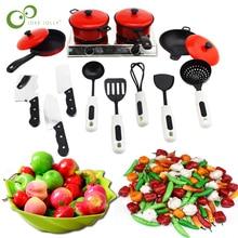 Mini cocina niños olla cacerola de cocina niños simulan cocinar juguete simulación verduras fruta utensilios de cocina juguetes Set ZXH