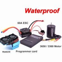 Imperméable à l'eau 3650 3900KV 4300KV / 3660 3300KV 3800KV moteur sans brosse 60A ESC programmeur carte Combo ensemble pour 1:10 1/10 RC voiture camion