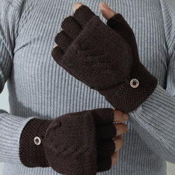 1 Pairs Knitted Half Finger Gloves Flipped Cover Flip Men Fingerless Gloves Autumn Winter Outdoor Hand Wrist Warmer handschoenen