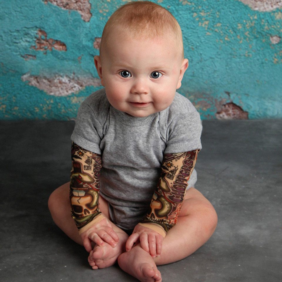 Newborn Baby Boy Tattoo Printed Long Sleeve Patchwork Romper Autumn Bodysuit LT