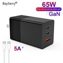 BaySerry 65 واط غان USB C تهمة سريعة 4.0 3.0 الاتحاد الأوروبي التوصيل نوع C PD شاحن نوع C آيفون 12 برو ماكس سامسونج محمول شحن سريع