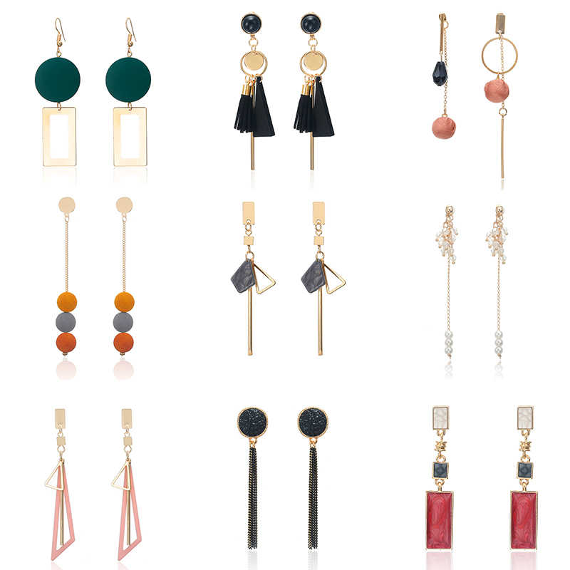 Korean Women's Earrings Metal Wood Geometric Fashion Cute Bohemian Drop Earrings Suitable For Winter Gift Jewelry 2019 New