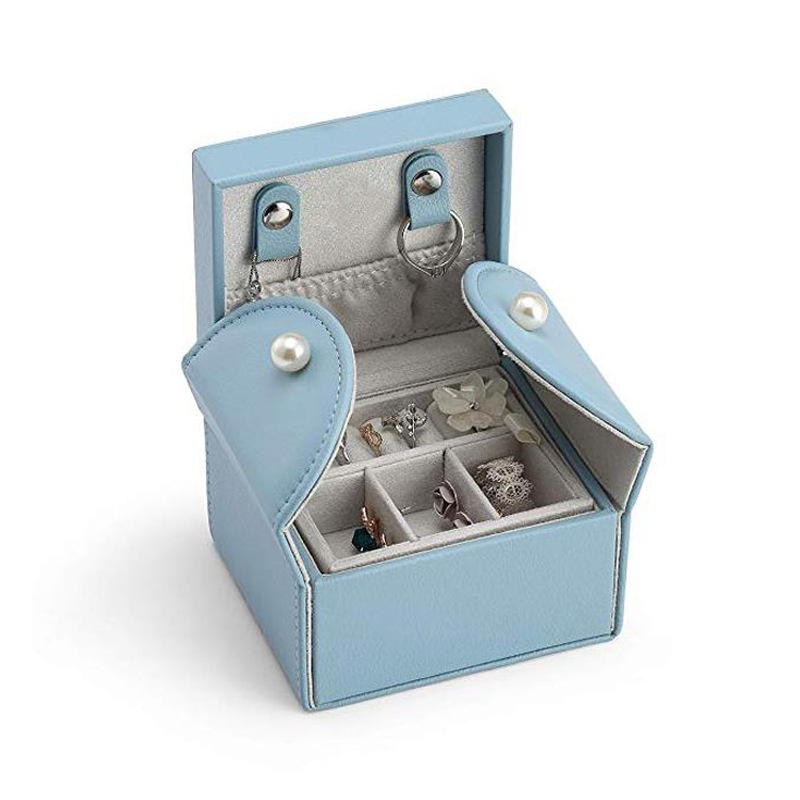 Mini Square Jewelry Box Simple Portable Leather Jewelry Box Earrings Necklace Ring Jewelry Box