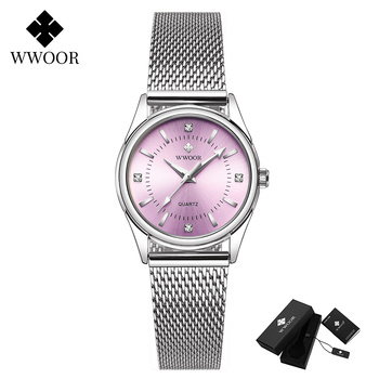 2020 WWOOR Fashion Brand Ladies Watches Luxury Diamond Rose Gold Women Bracelet Watch Elegant Dress Watch For Girls montre femme - Pink