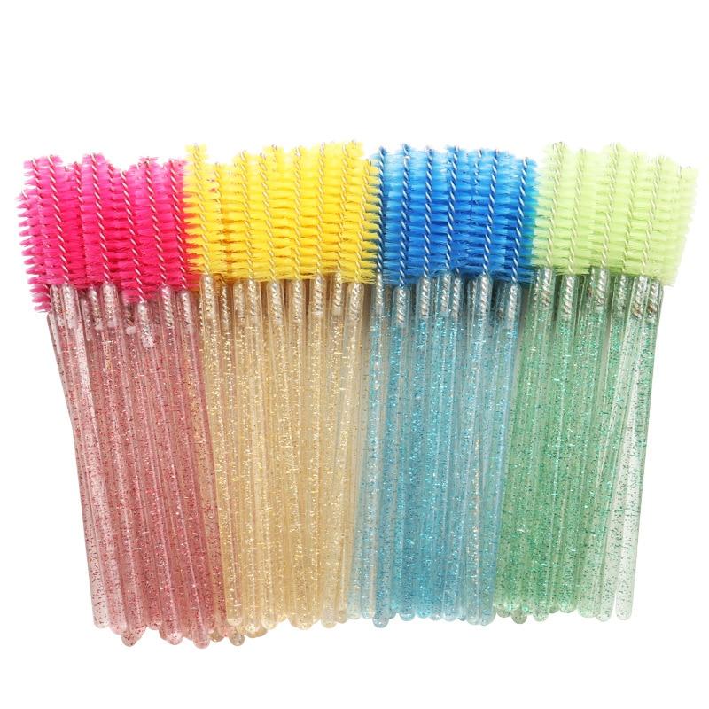 50Pcs Shiny Disposable Micro Eyelash Brushes Crystal Mascara Applicator Wand Brushes Comb Eyelash Brushes Makeup Tool Kit
