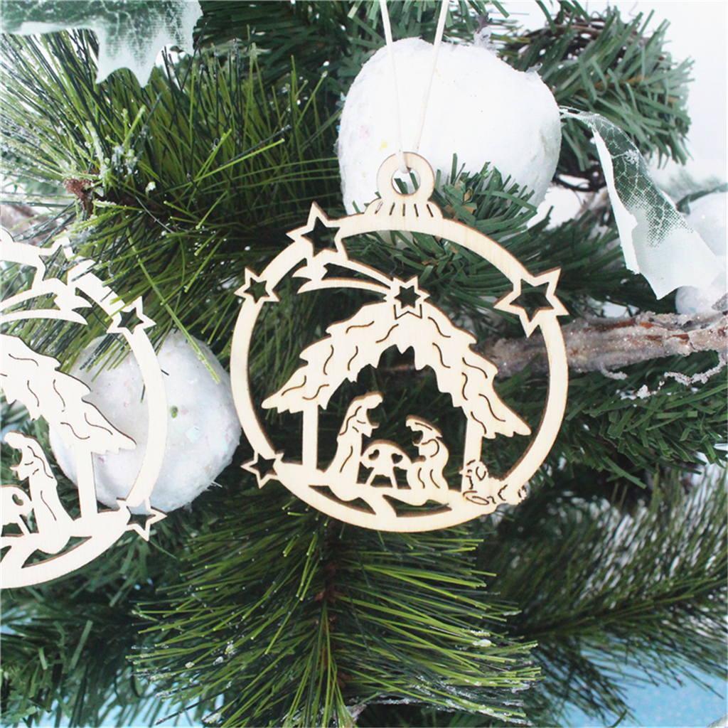 9x Christmas Wooden Wreath Stickers Natural  Embellishments Craft
