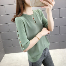of 2021 the new sleeve knit top female necklines ice silk blouse female thin hollow out 5 minutes of sleeve outer wear