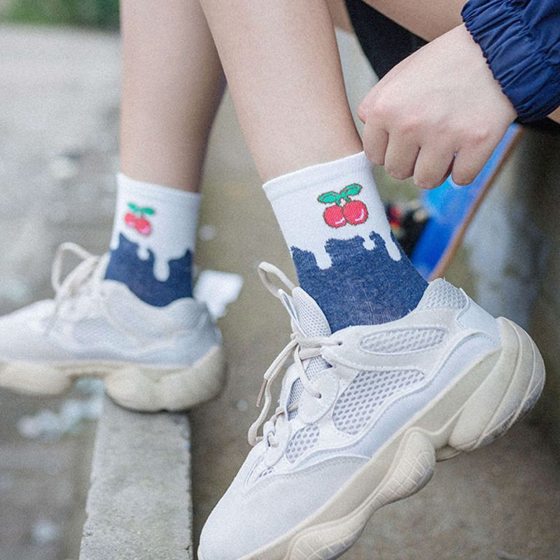Women Girls Sweet Harajuku Cotton Short Over Ankle Socks Candy Color Block Patchwork Cartoon Fruit Strawberry Printed 5