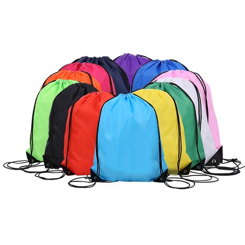 1 PC Portable Drawstring Bag Waterproof Sports Riding Gym Drawstring Backpack Shoes Clothes Organizer Bag Customizable Dropship