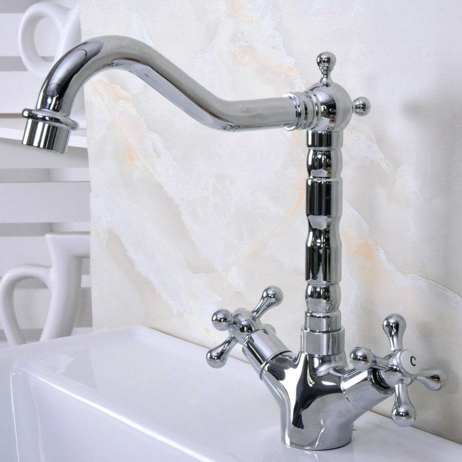 Latão polido Chrome Duas Alças Cruzadas Um Buraco Bacia Banheiro Kitchen Sink Faucet Bica Giratória Torneira Misturadora mnf919