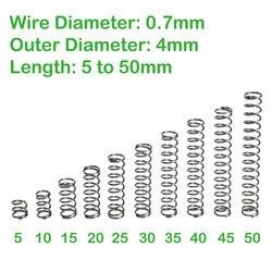 Диаметр проволоки 0,7 мм, внешний диаметр 4 мм, Длина 5 мм до 50 мм, маленькие компрессионные пружины
