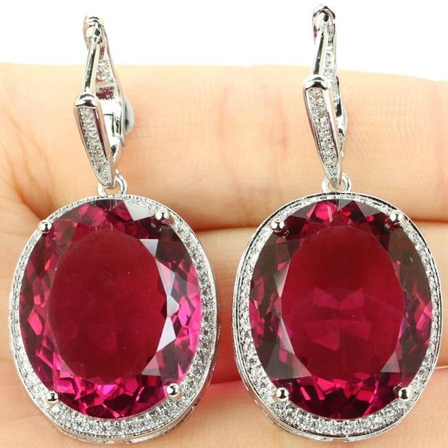 40x20mm Big Oval 17.5g Gemstone Size 22x18mm Created Pink Tourmaline CZ Ladies Present 925 Silver Earrings