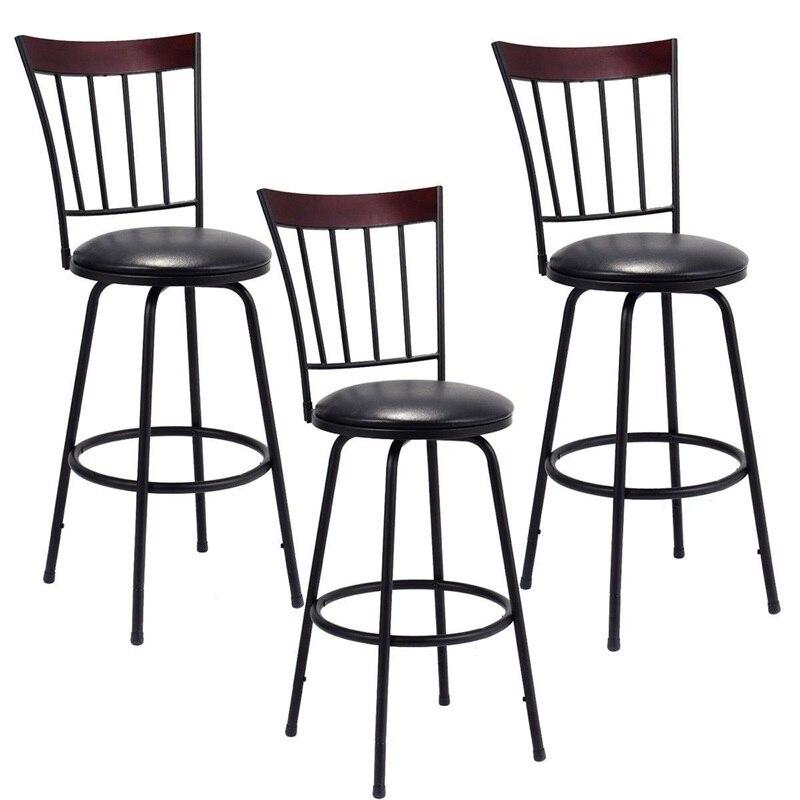 Set of 3 Steel Frame PU Leather Swivel Bar Stools 360 Degrees Swivel Seat Design Chair Set Powder-coated Steel HW55642