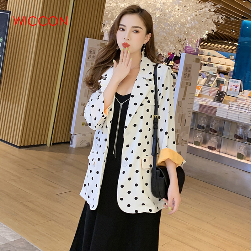 Women Polka Dots Blazer Suit 2020 Fashion Ladies Street-wear Chic Blazers Jackets Girls Casual Loose Suits Set Tops