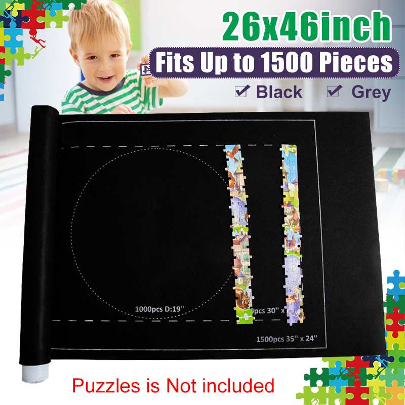 26x46 Inch Portable Travel Puzzles Mat Jigsaw Roll Felt Mat Play Mat Puzzles Blanket For Up To 1500/2000/3000 Pieces Puzzle