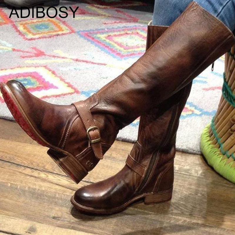 Women Knee High Boots Black Brown Warm PU Leather Zip Platform Long Boots Ladies Vintage New Low Heel Women Winter Shoes Booties