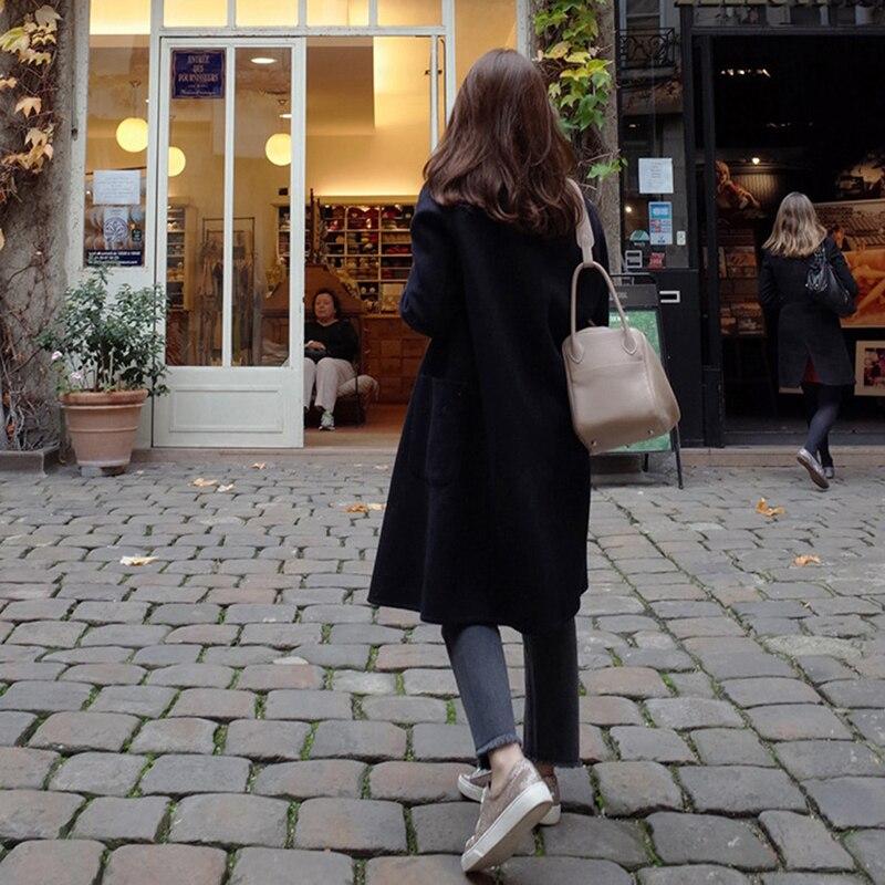 Высококачественное элегантное шерстяное пальто для женщин осень зима длинная толстая кашемировая ветровка корейский стиль широкая талия