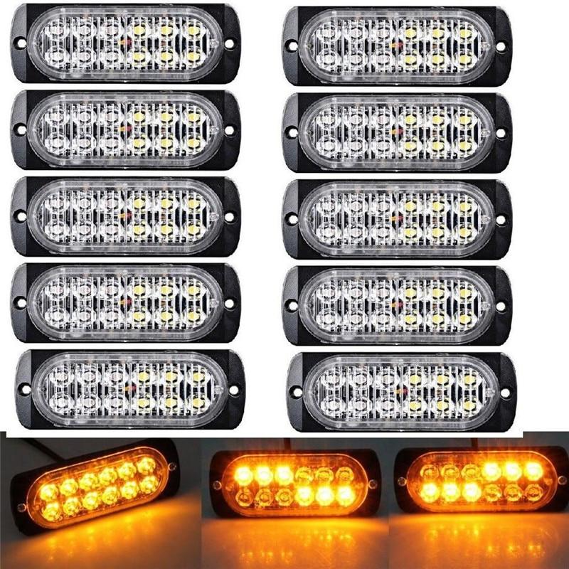 10x Amber/Yellow Flash Strobe Light 12LED Emergency Hazard Warning Police Lights Beacon Caution Flashing Warning LED Lights